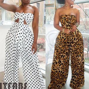 2adet yazlık kıyafetler Seti Kadınlar Tatil Wrap Göğüs Polka Dot Crop Top Geniş Bacak Uzun Pantolon Tulum Plaj Giyim Dropshipping ayarlar