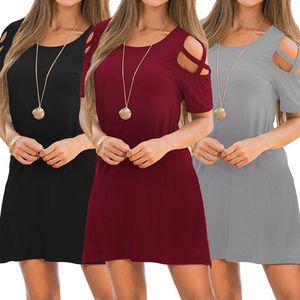 Women's Designer Dress Hot Style Round Neck Short Sleeve Strapless Underdress Hollow Sexy Casual Petticoat Summer 2020 New