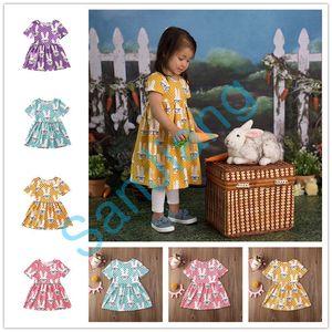 1-6Y Baby-Punkt-Karikatur-Kaninchen-Kleid Osterhasen-Rock-Mädchen Prinzessin Kleider Niedlich Rock Kinder Röcke Sommerkleider Party Kleider E3803