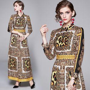 Spring Summer Fall Runway Vintage Leopard Baroque Print Collar Long Sleeve Empire Waist Women Ladies Casual Party Maxi Dress Wholesale