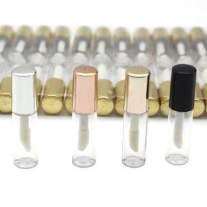 100pcs vide en plastique transparent Lip Gloss Tubes lèvres Tube 1.2ml Rouge à lèvres Mini échantillon récipient cosmétique or rose Cap