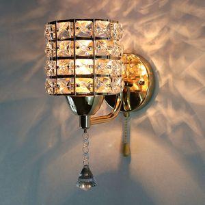 Creative modern minimalist led crystal wall lamp bedroom bedside lamp aisle european living room background wall light R49