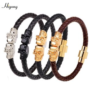 HIYONG Genuine Leather Bracelet Skull Magnetic Buckle Bracelets Braided Leather Rope Bracelet Punk Jewelry Gift For Men Women