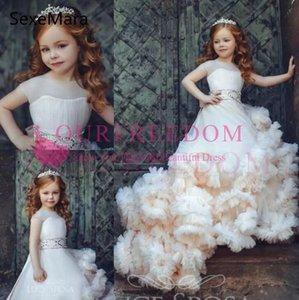 Wolke New Kids Pageant Abendkleider 2020 wulstige Ballkleid-Blumen-Mädchen-Kleider für Hochzeiten ersten Geburtstags-Kleider Benutzerdefinierte Größe