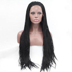 Sintética trançada rendas frente perucas para mulheres resistente ao calor Cabelo Fibra Wigs premium Braid Wig