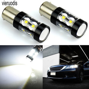 Vieruodis 2 piezas de coches LED de alta potencia de luz de freno señal de vuelta 1157 1156 50W 10SMD marcha atrás bombilla 3000K 6000K 8000K