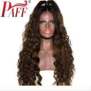 Bebek Saçlı PAFF Ombre Tam Dantel İnsan Saç Peruk Gevşek Dalga Perulu Remy Saç Peruk iki sesi Koyu Kahverengi Renk