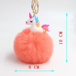 DHL Free Shipping12 Colours 8CM Fluffy Metal Alloy Unicorn Pom Keychain Pendant Cute Pompom Fur ball Key Chain Bag Car Key Ring Hang Bag