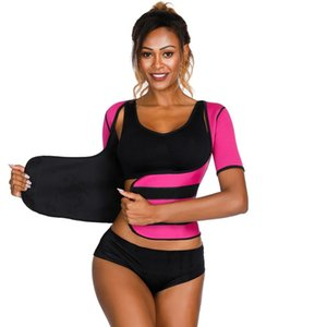 2019 New Women Neoprene Shaping T-shirt Adjustable velcro Waist Trainer Ultra Sweat Sauna Corset Half Sleeve Vest Tops Push Up Y200706