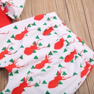 New 3pcs baby clothes set 2017 Autumn Christmas Baby red Rompers + deer print pants+ bow Hat Costume Kids Clothing Sets