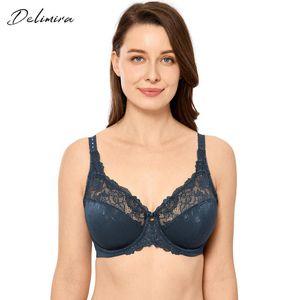 DELIMIRA Mulheres Sexy Beauty Lace Bra Plus Size Não acolchoado Minimizer Bras completa Figura Underwire soutien