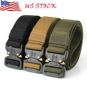 Cinturones tácticos al aire libre de los nuevos hombres de nylon militar correa de cintura con hebilla de metal ajustable para trabajo pesado de cintura de la correa