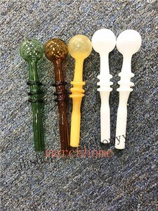 Newest Tube Glass Pipe Smoking Handle Pipes Curved Smoking Pipes High-end Pyrex Glass Oil Burner Pipe Free Shipping