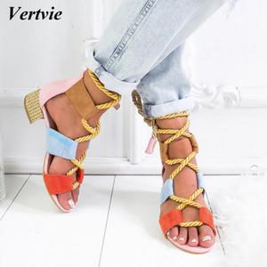 Vertvie 2019 Torridity Moda Tutun Espadrilles Kadın Sandalet Topuk Sivri Ağız Sandalet Kenevir Halat Up Sandal Y190706