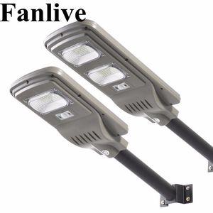 Fanlive 8 PCS 30W 50W 80W intégré LED Solaire Réverbères Lampe de Jardin Energia Luminaria Extérieur Étanche IP66 PIR Capteur