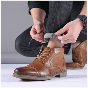 Мужчины высоких ботинок Дизайнерские зима Замшевые ботинки Шнуровка кожи Британский Mens натуральной кожи Мартин сапоги платье обувь Бизнес Свадебная обувь
