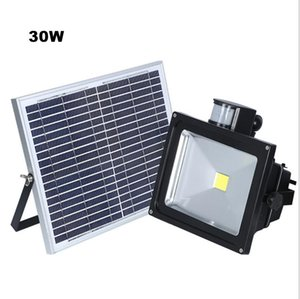 10w 20w 30w 50w Solar Panel Led Flood Security Solar Garden Light Pir Motion Sensor Path Outdoor Infrared Floodlight