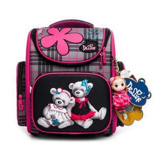 2019 Delune 1-3 Grado Niños Ortopédicos Bolso de escuela Moda para niñas 3D Mochila Niño Niños Escuela primaria Mochilas Mochila Infantil J190524