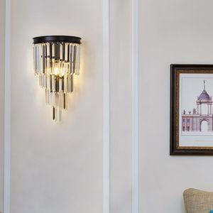 Oro / Nero Modern Wall Sconce Light Crystal Wall Wall Luxury Creative Warm Hallway Camera da letto Lampada da comodino EMS