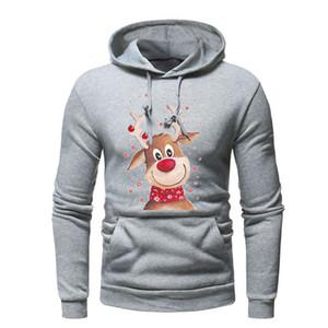 Noël Sweats Homme 2018 Mode Hoodies Marque Hommes Noël Elk Cerfs 3D Imprimer Sweat-shirt Hip Hop New Automne Hiver à capuche pour hommes