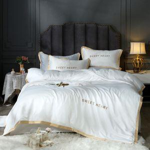 Textiles para el hogar juegos de cama para adultos juego de cama blanco negro funda nórdica King Queen Size edredón breve ropa de cama edredón T200110