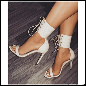 lace up open toe high heels ankle strap white black shoes PU leather 2018 new size 35 to 40
