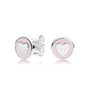 Розовые и Белые Эмаль Сердце Маленькие Милые Серьги Стержня для Pandora Стерлингового Серебра 925 Женщин Серьги с Оригинальной Подарочной Коробке