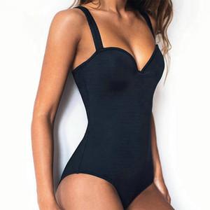 Costume da bagno nero all'occhiello 2019 Costume da bagno regolabile femminile Fasciatura sexy estivo da spiaggia Micro costume da bagno perizoma in due pezziSexy One Piece