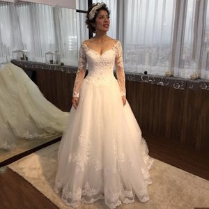 Custom Made Long Sleeves Lace Wedding Dresses with Beaded Appliques Court Train Tulle A Line Plus Size Wedding Bridal Gowns