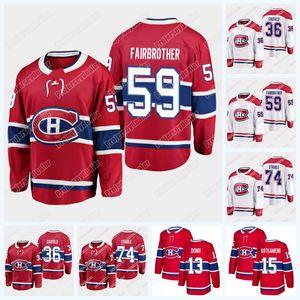 Монреаль Canadiens Cole Caufield 36 Gianni Fairbrother 59 JAYDEN Sharble 74 Хоккей Джерси 2019 Проект игрок Джерси для мужчин Woemens Youth