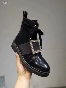 SALE~2019080802 34 40 black genuine leather CRYSTAL SQURE BUCKLE FLAT SHORT BOOTS
