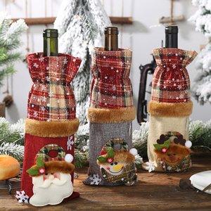 Bottiglia Decorazioni di Natale vino della bottiglia Set Vintage Plaid Lino dei vini comprende bottiglie decorazioni Red Wine Champagne creativi