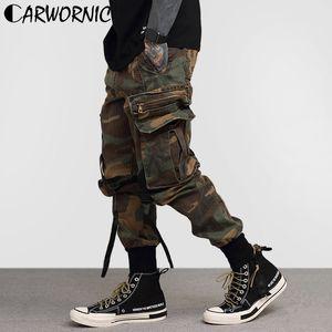 CARWORNIC Vintage Kamuflaj Hip Hop Pantolon Erkekler Yan Cep Kargo Streetwear Pantolon Jogger Casual Baghee Harem Tatical Parça Pant
