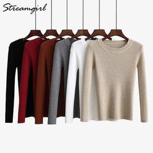 Streamgirl Basic Sweater Women Herbst 2018 Gerippte Winter Woman Sweater Strickpullover Strickwaren Black Sweaters For Women