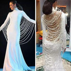 Modest muslimischen Mittleren Osten Dubai Pageant Kleider Beadings Pearls Saudi-arabische Abschlussball-Partei-Kleider Vestidos De Fiesta Abendkleidung