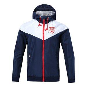 Nimes hombres Fútbol cremallera rompevientos chaqueta de manga larga abrigo deportes de invierno fútbol rompevientos chaqueta con capucha Ropa deportiva Chaquetas de hombre
