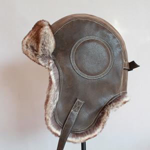 Зима ушанки Hat Мужчину Женского Pilot Aviator Bomber Trapper Hat искусственный мех Кожа снег Cap ушанка T191022