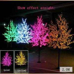 1152 LED Ampuller Cherry Tree Işıklar Kırmızı mavi yeşil sarı Beyaz Pembe Puple Opsiyonel 2m 6.5ft Yükseklik Yılbaşı Ağacı