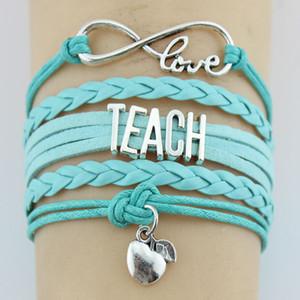 10PC / Lot Infinity Love Teach Teacher Apples Charm Wrap Bracciale in pelle multistrato personalizzati regali donna uomo bracciali gioielli