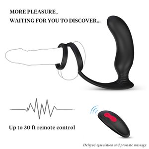 PHANXY Male Massage Vibrator Anal Silicone Prostate Stimulator Butt Plug Delay Ejaculation Ring Toy For Men Y200616