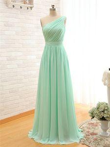 Mint longo verde dama Vestido Chiffon 2020 New One Shoulder Cheap uma linha plissadas Vestidos dama de menos de 100
