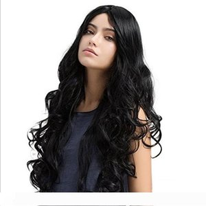 Fashion NEW women brazilian Hair African Ameri long loose wave Simulation Human Hair curly Wig middle part in stock