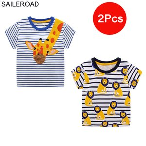 SAILEROAD 2pcs Lots Children T-Shirts Animal Kids Tops Tees for Boys Clothes Giraffe Lion Pattern Baby Girls Shirts Y200704