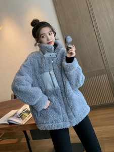 Korean-Style Stand-Collar Zip Lambs Wool Coat Womens Loose-Fit Sweater Thick Fur Jackets Winter 2019 New