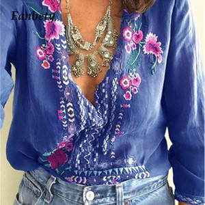 Fanbety Women Embroidery Bohemian Blouse Shirt Elegant Sexy V Neck Ethnic Style Blusas Summer Casual three quarter Boho Blouses LY191116