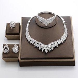 Hadiyana 2018 Noble Micro Pave Cubic Zirconia Sistemas de la joyería de Dubai Últimas joyas de boda nupcial de lujo 4 unids Set para mujeres Tz8025 Y19051302
