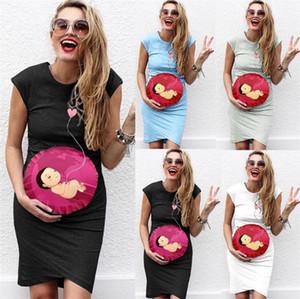 Diseñador embarazo Las mujeres vestidos de Baby Love Impreso floja ocasional Manga corta cuello de equipo Vestidos vestidos de las mujeres de moda