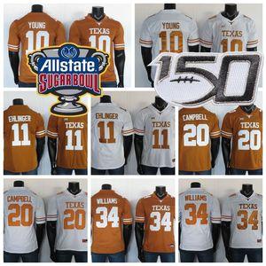 Texas Longhorns Formalar 11 Sam Ehlinger Jersey 10 Young 20 Campbell 34 Williams NCAA Beyaz Kahverengi Kolej Futbol Forması Dikişli 150th