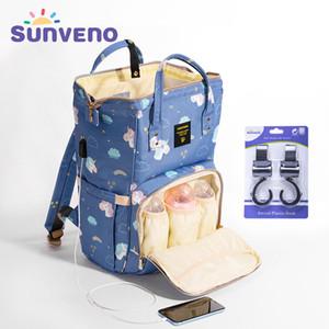 SUNVENO Mama Umstands Windel-Windel-Tasche Organisieren große Kapazitäts-Baby-Beutel-Rucksack-Pflegetasche für Mutter-Kind-Baby Pflege Y200107