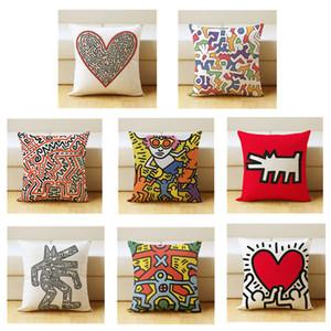 Keith Haring Funda de almohada de algodón y lino de funda de cojín originalidad Funda de simplicidad Moderna del norte de Europa Sofá funda de cojín 5ym k1